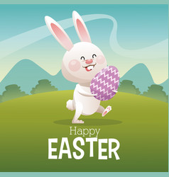Happy easter card cute bunny egg landscape vector