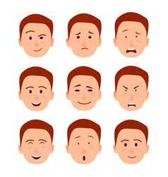 Young cartoon character emotions set vector