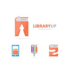Book and arrow up logo combination vector