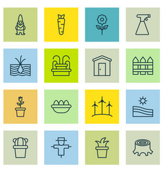 Set of 16 farm icons includes barrier meadow vector