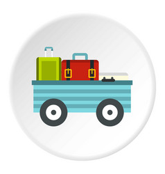 Freight trolley with loaded baggage icon circle vector