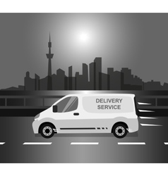 White delivery van monochrome vector
