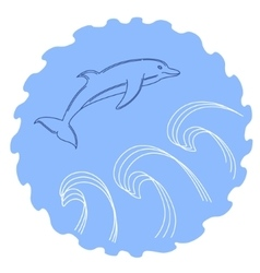 A sketched jumping dolphin vector