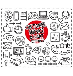 Doodle customer service icons vector