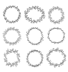 Frames made of wreaths doodle vector