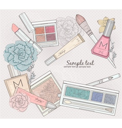 Makeup and cosmetics background vector