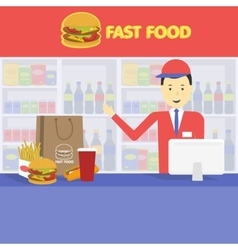 Seller fast food and tray with cola hamburger vector
