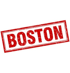 Boston red square grunge stamp on white vector