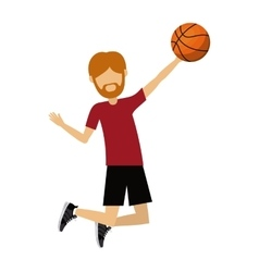 Male athlete practicing basketball isolated icon vector