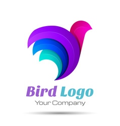 Bird Abstract Volume Logo Colorful 3d Design vector image vector image