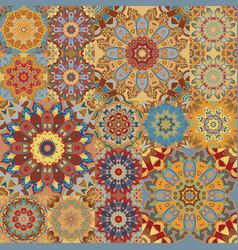 boho tile set and seamless pattern brown vector image vector image