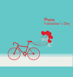 card for valentines day with bicycle and ballons vector image