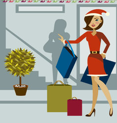 Christmas-shopping vector image vector image