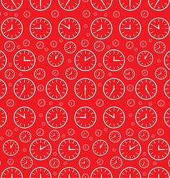 Clock seamless pattern clock face set on red vector