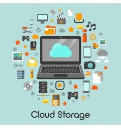 Cloud Storage Data Technology Icons vector image