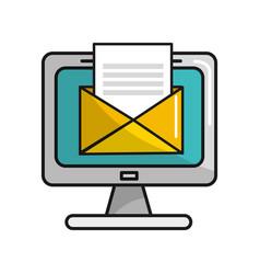 Computer with virtual folder open message vector