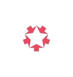 Convergent pink five arrows logo mockup converge vector image vector image