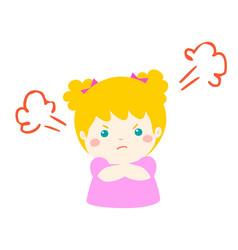 Cute cartoon angry girl character vector