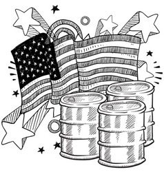 doodle americana oil bw vector image