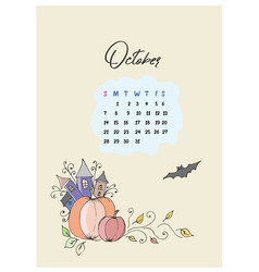 doodle pumpkins and castle calendar for the month vector image vector image