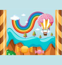 Fantacy world with candy balloon over the rainbow vector