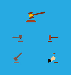 flat icon court set of hammer tribunal legal and vector image vector image