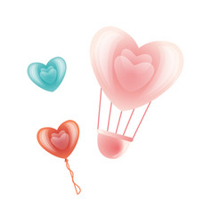 Happy valentines day heart symbols set vector