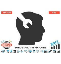 Head surgery wrench flat icon with 2017 bonus vector