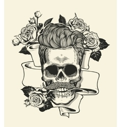 Hipster skull silhouette with mustache and arose vector image