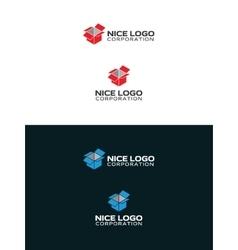 isometric box logo vector image vector image