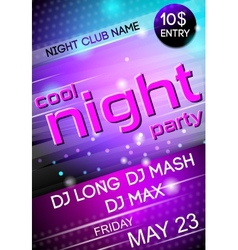 Night party poster vector image vector image
