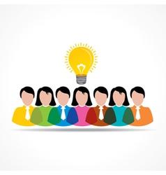 People team with idea bulb vector