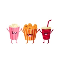 Popcorn Soda And Chips Cartoon Friends vector image