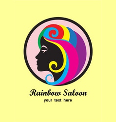 Rainbow hair saloon logo design vector