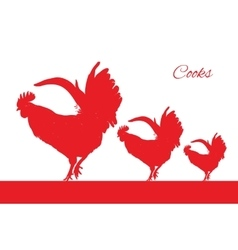 Red cocks bird isolated object vector