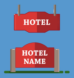 red hotel label flat style vector image vector image