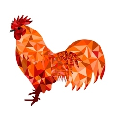 Red polygon rooster vector
