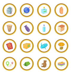 Refugees icons circle vector
