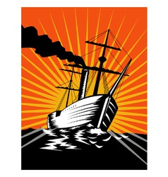 Sailing Ship Retro Woodcut vector image vector image