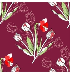 Seamless pattern with amaryllis and tulip vector