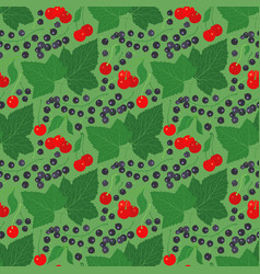 seamless pattern with currant and cherry vector image vector image