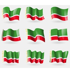 Set chechen republic flags in the air vector