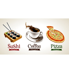Sushi Coffee Pizza vector image vector image