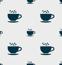 The tea and cup icon sign Seamless pattern with vector image
