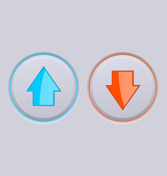 Up and down gray buttons with blue and orange vector
