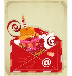 Vintage birthday card with chocolate berry cake vector