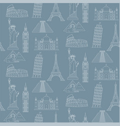 World landmarks seamless background vector