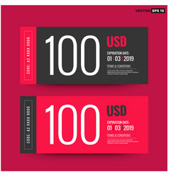 100 usd gift card template vector