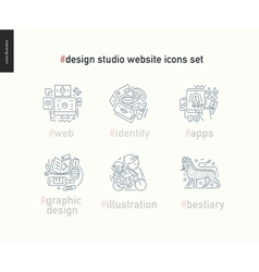 Design studio website icons set on white vector