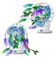 Desktop fan with colorful feather isolated vector